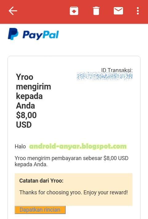 Bukti pembayaran dari Yroo (landing payment)