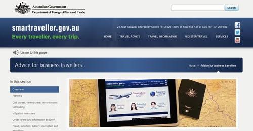 Smartraveller website screenshot