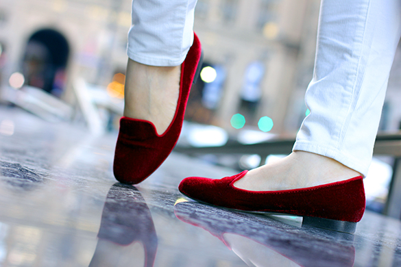 Zara Red Velvet Loafers