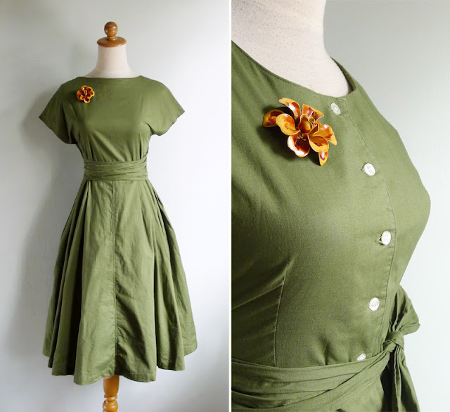 vintage 50's moss green cotton day dress