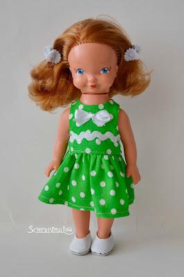 платье для куклы в горошек, куклы ГДР, хитрулька