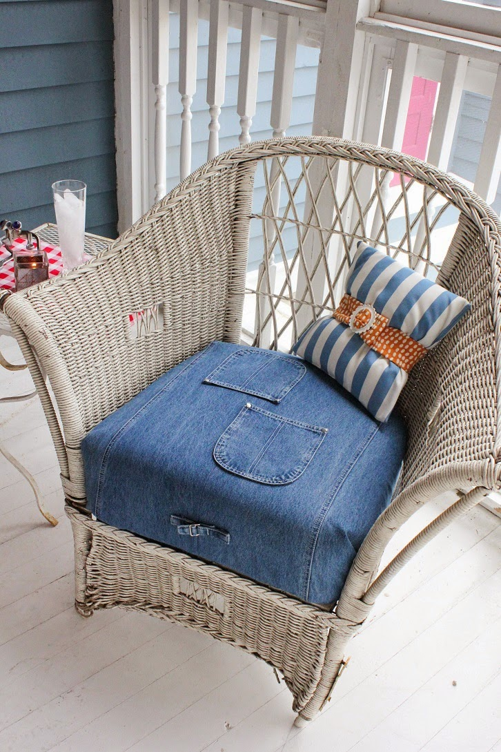 Thrifty Thinking: How To Use Old Blue Jeans To Re Cover Patio Chair Cushions