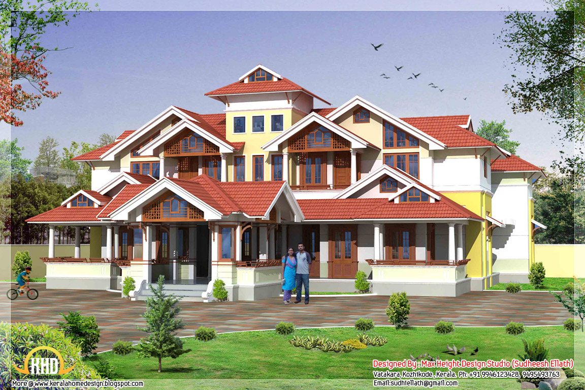 Super luxury kerala mansion 7450 sq ft home appliance for Big home designs