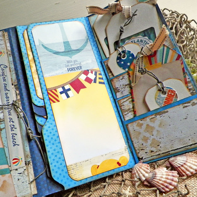 Wallet Mini Album by Lisa Novogrodski using BoBunny Boardwalk Collection Close Up 02