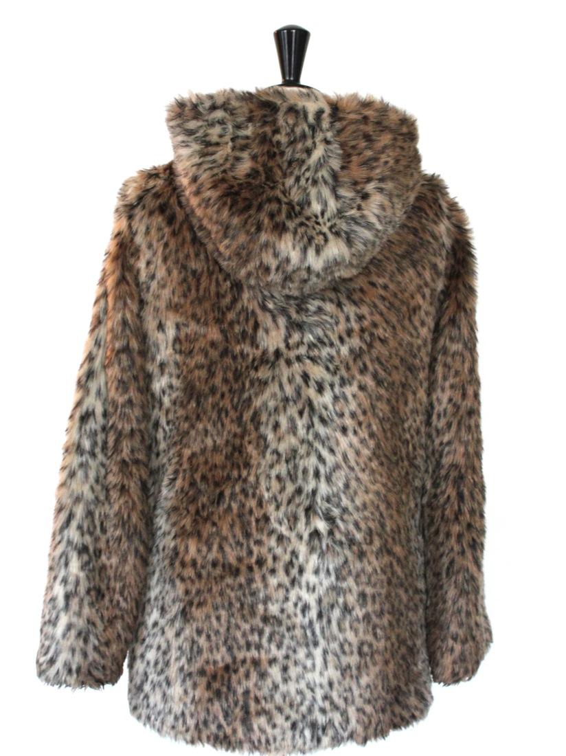 louise paris manteau capuche en fausse fourrure imprim l opard taille 38. Black Bedroom Furniture Sets. Home Design Ideas