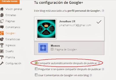 Compartir automáticamente las entradas de blogger en google+