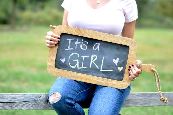 Gender Reveal - It's a Girl chalk sign | Honey We're Home