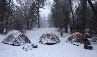 Camping tents in snow