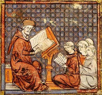 Professor medieval dá aula sentado na cátedra para meninos