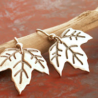 Maple Leaf autumn earrings in fine and sterling silver on Etsy
