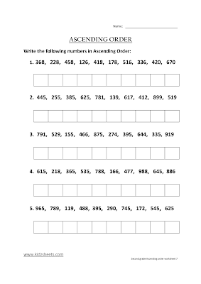 Free Printable Second Grade Worksheets,Free Worksheets, Kids Maths Worksheets, Maths Worksheets, Second Grade Ascending Order, Ascending Order, Second Grade, Kids Ascending Order