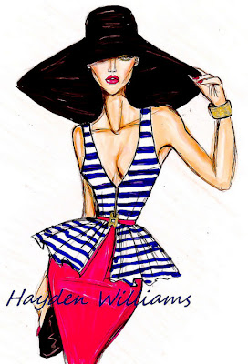hayden williams fashion illustration stripey top large hat fashion drawing