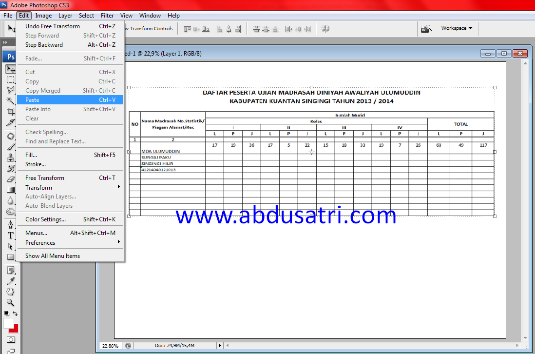 copy tabel dari excel ke photoshop