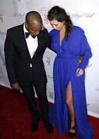 Kim Kardashian and KAnye West at Angel Ball 2012  red carpet