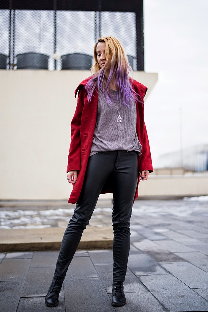 H&M burgundy coat faux leather pants long chain necklace