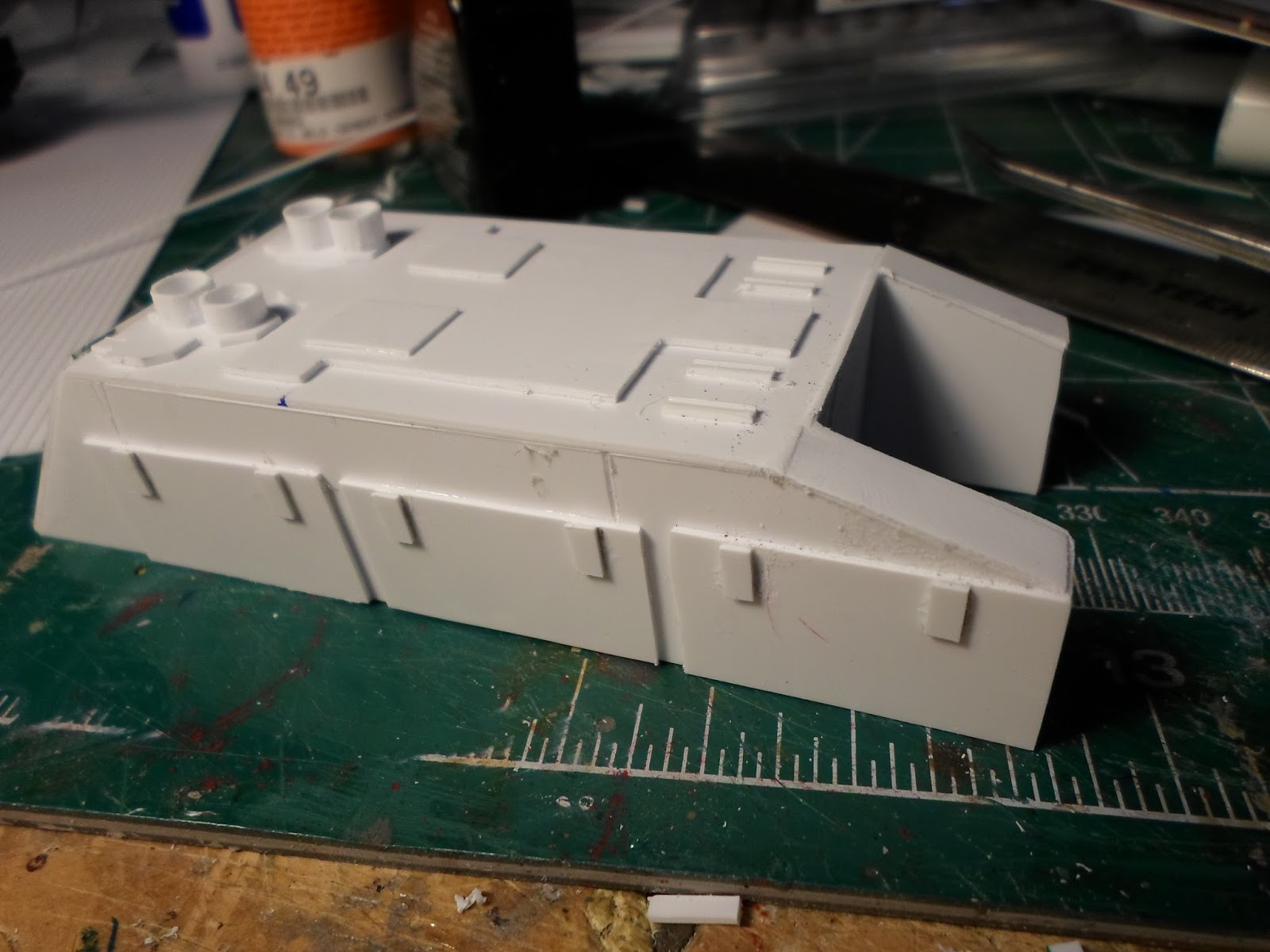 A scractch built Thunderhawks upper cannon housing built out of sheet styrene