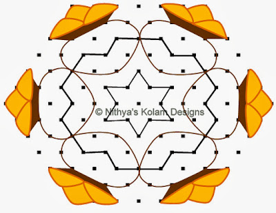 4 Pongal Kolam Interlocked dots 13 to 7