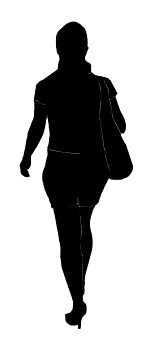 silhouette of a young woman walking
