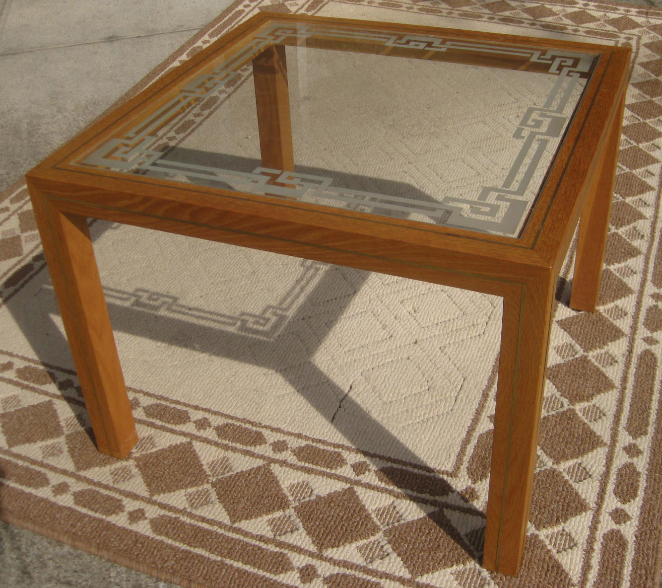 Uhuru Furniture Collectibles Sold Coffee Table With Etched Glass 50