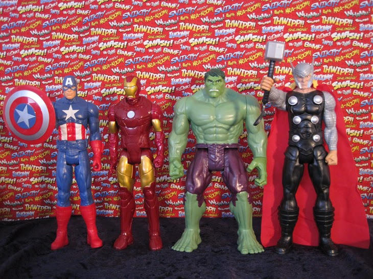"Marvel 12"" Titan Heroes Avengers Action Figures: Captain America, Iron Man, Hulk, and Thor."