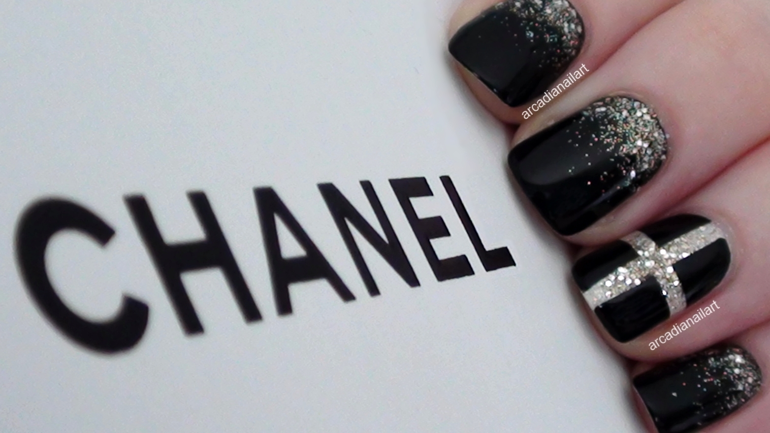 Chic Chanel Inspired Nails - ArcadiaNailArt: Chic Chanel Inspired Nails