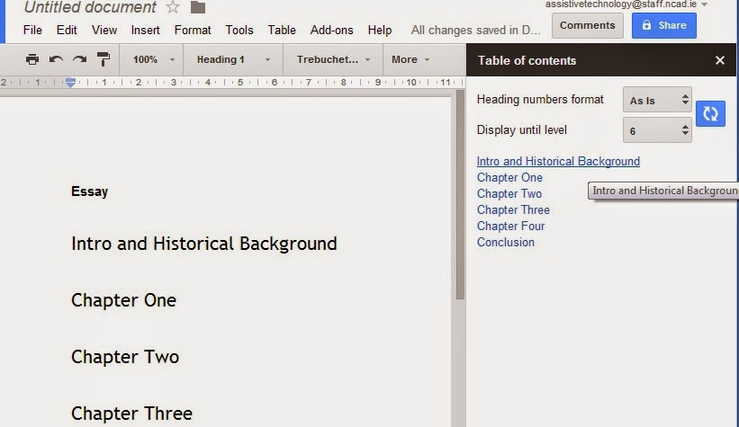 Screenshot Of Table Of Contents Sidebar In Google Docs