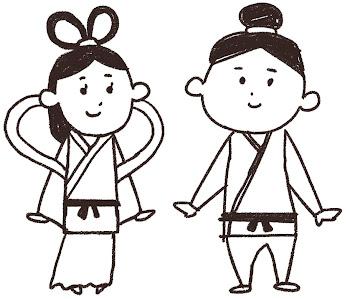 織姫と彦星のイラスト(七夕) 線画