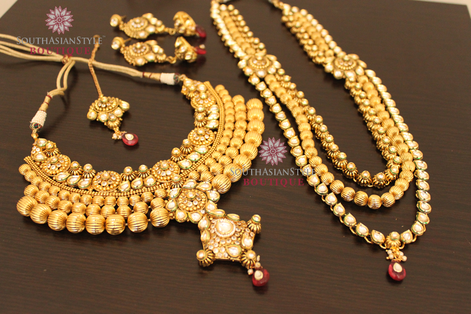 Bridal Jewellery Set Antique Gold Gram Amp Kundan Set South Asian Style