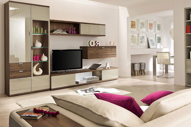 artful storage in modern beige living room Top 10 Sports style living room ideas