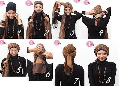 Cara memakai Jilbab Surban