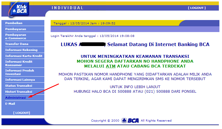 menghapus nomor rekening internet banking bca