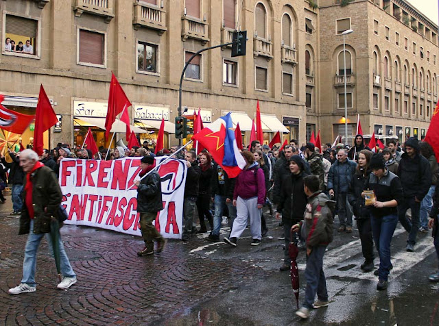 protest march in Florence, Italy