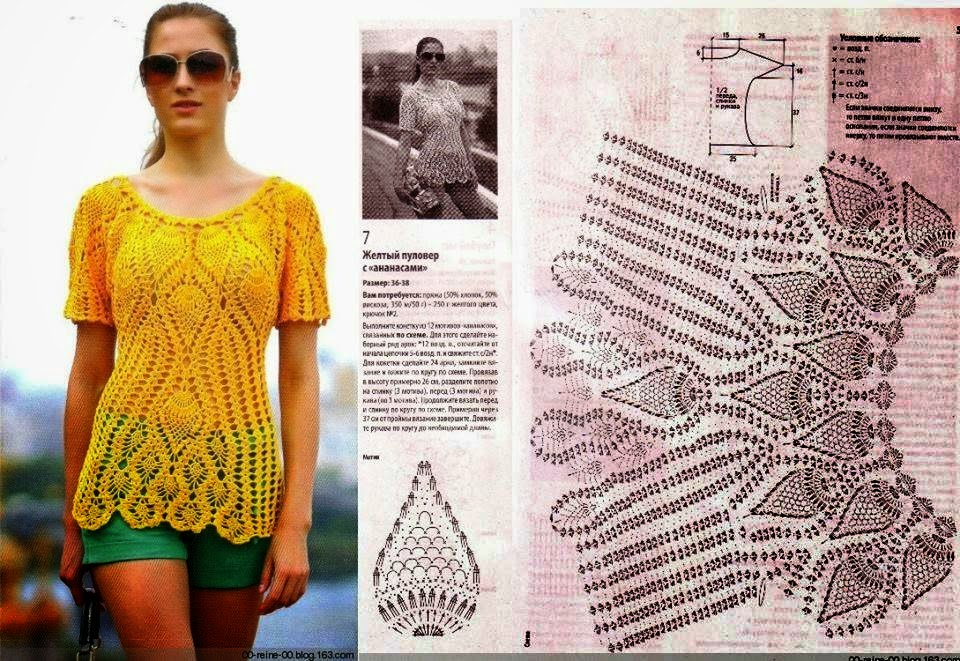 Blusa tejida con ganchillo - con patrones y diagramas | Crochet y ...