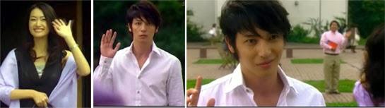 Saiko waving / Chiaki waving / Chiaki making a face as Saiko runs past him to Hayakawa