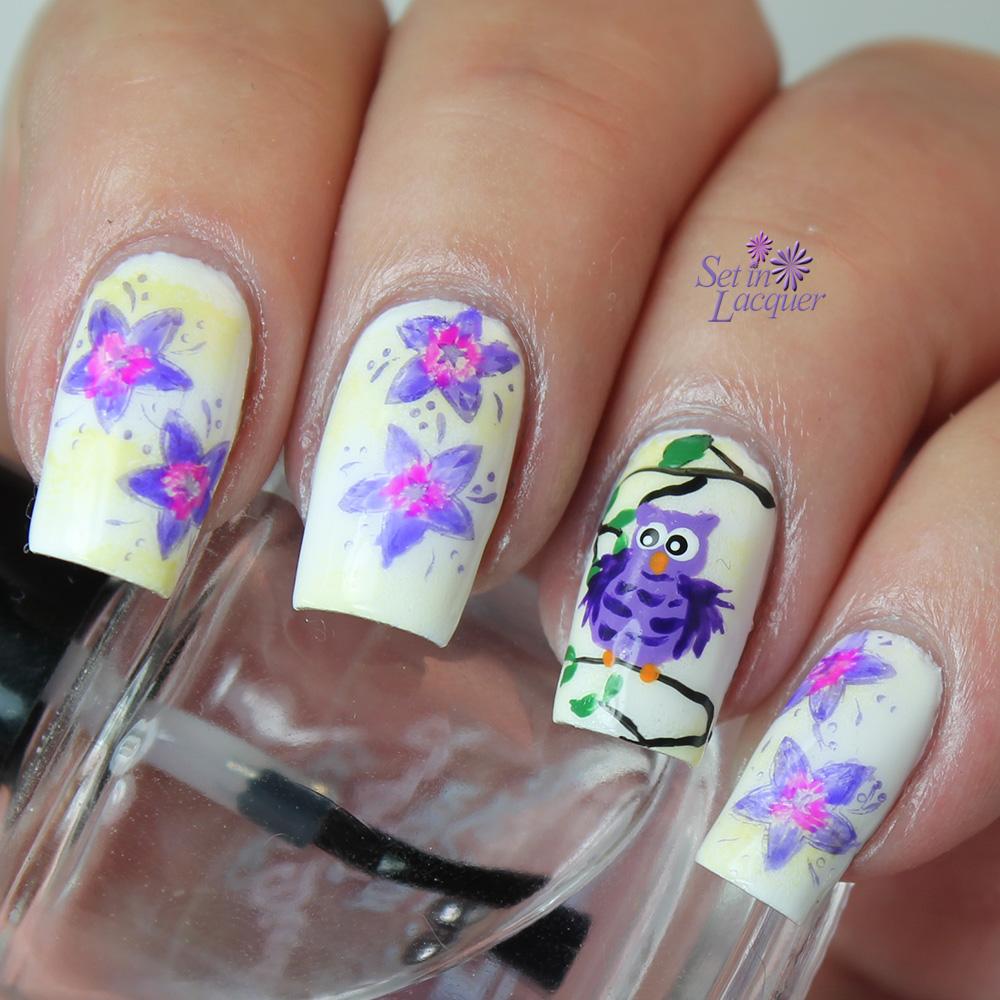 Jorinda and Jorindel: Owl and floral nail art
