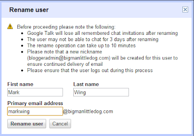 Google Apps Domain Registration - rename user screen