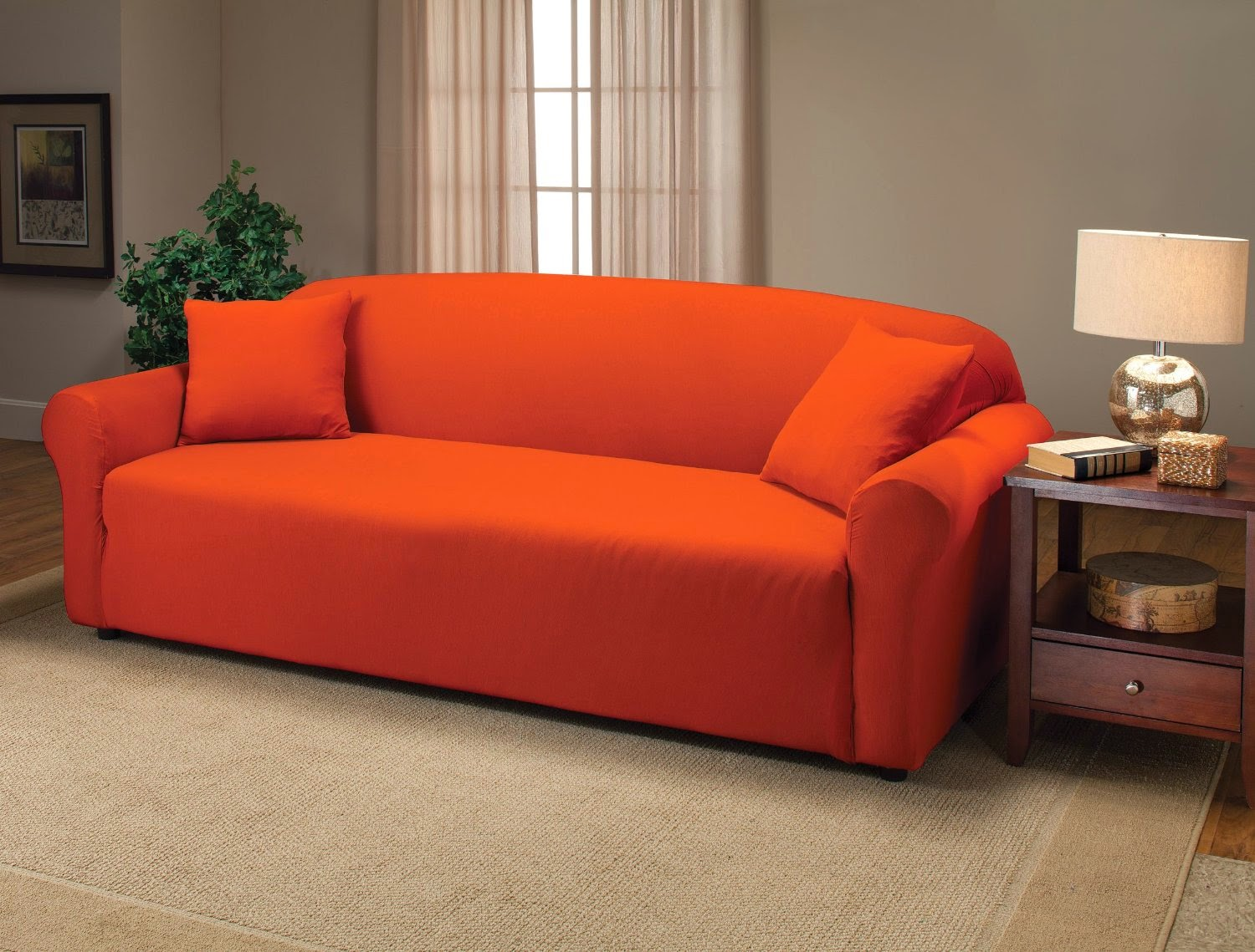 Orange couch orange couch cover for Sofa orange