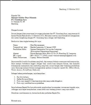 Contoh Surat Lamaran Kerja Terbaru 2014