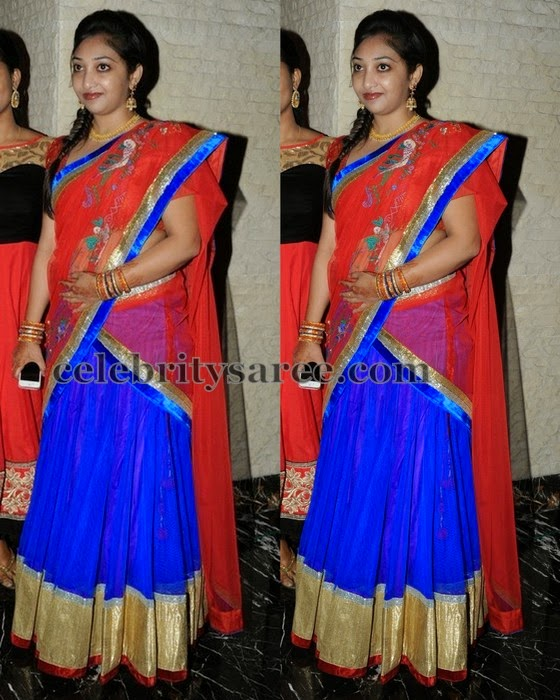 Blue Simple Half Saree