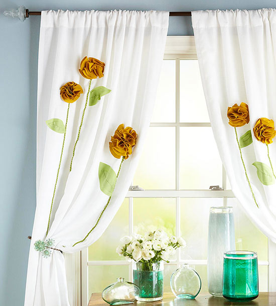 easy window treatments high take plain white curtains up notch with simple flower embellishment to create the rosettes trace around inch diameter drinking glass on 15 easy window treatment projects for autumn 2013 interior design