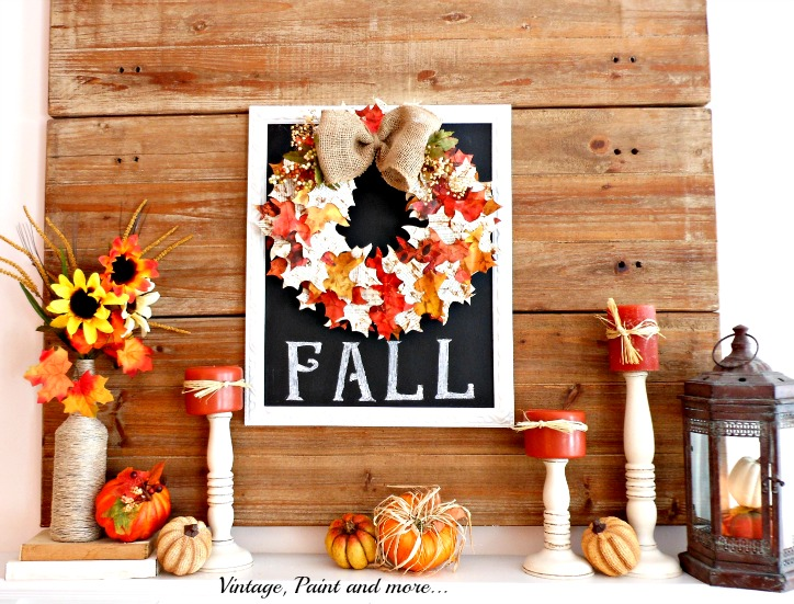 Vintage, Paint and more... a vintage fall mantel that showcases a paper leaf wreath on a chalk board and dollar store pumpkins.