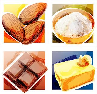 almendras harina chocolate mantequilla alimentos cocina