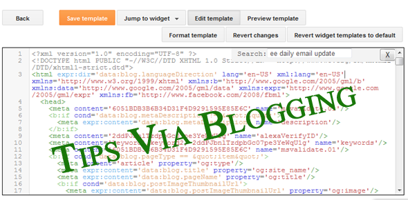 New Blogger Template HTML Editor