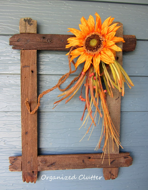 Rustic Wood Frame with Fall Sunflower