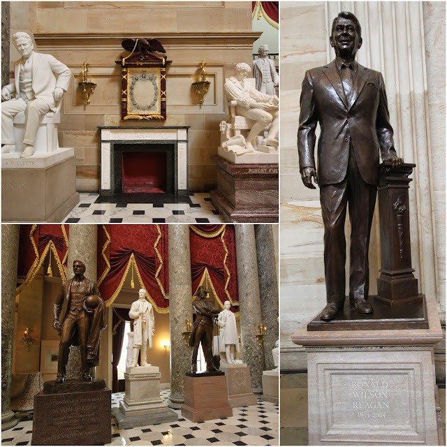 Famous American sculptures at National Statuary Hall in United States Capitol in Washington DC, USA