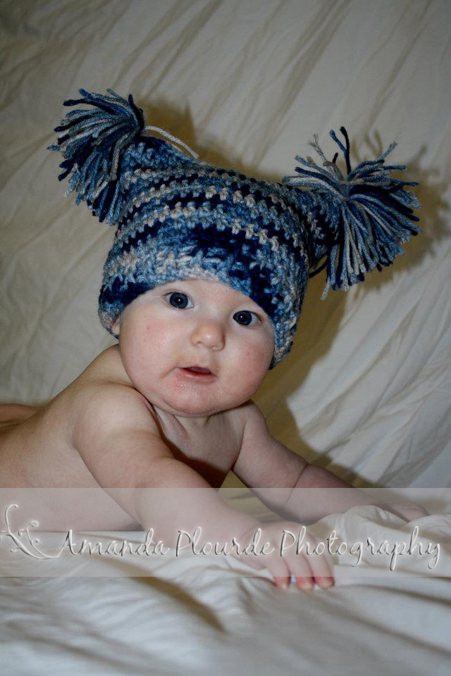 Crochet Newborn Pom Pom Hat Pattern : Diamond Rose Crafts: 3-6 Month Sack Hat with Pom-Pom ...