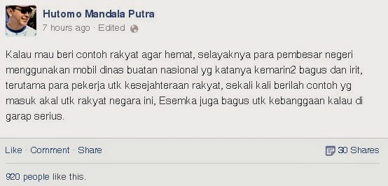 gagasan Tommy Soeharto mobil dinas Presiden pakai mobil nasional