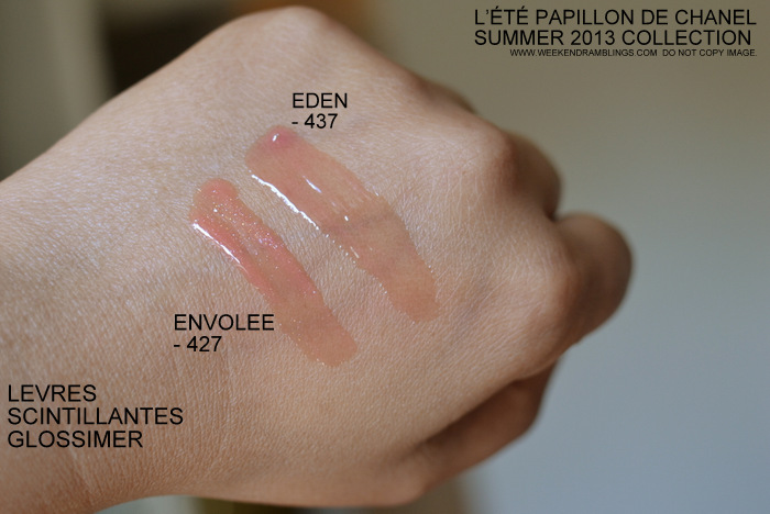 Chanel Envolee 427 Levres Scintillantes Glossimer Lete de Papillon Summer 2013 Makeup Collection Indian Darker Skin Beauty Blog Photos Swatches Review FOTD Looks