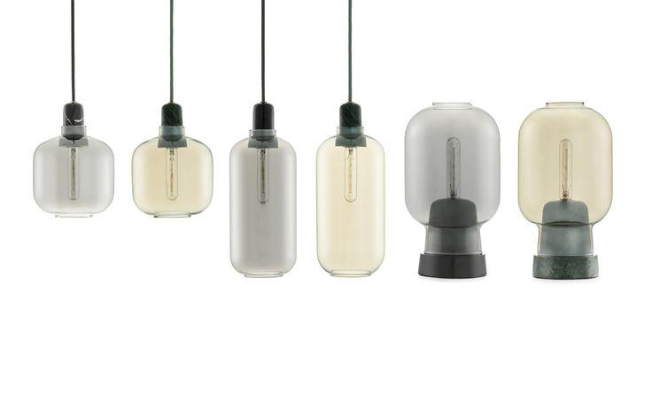 glaslampe med marmor fatning
