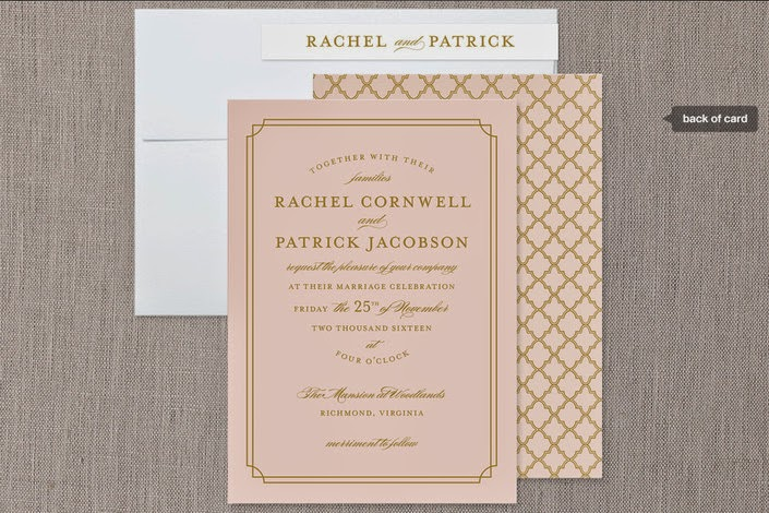 pink and gold formal wedding invite for Minted.com